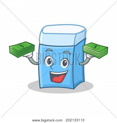 With money eraser character mascot style vector illustration