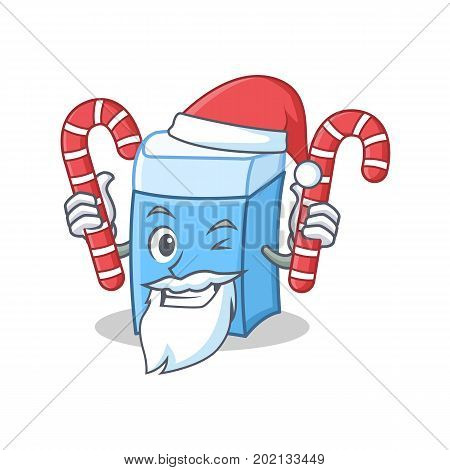 Santa with candy eraser character mascot style vector illustration
