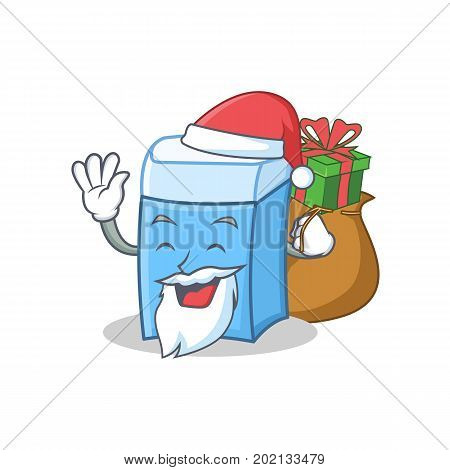 Santa with gift eraser character mascot style vector illustration