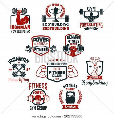 Gym icons for bodybuilding or powerlifting sport club. Vector isolated badges set of iron barbells or dumbbells in muscleman biceps hand, ribbons, stars and ironman bodybuilder winner cup prize