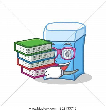 Student with book eraser character mascot style vector illustration