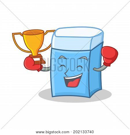Boxing winner eraser character mascot style vector illustration