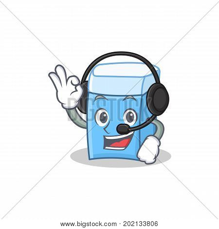 Headphone eraser character mascot style vector illustration