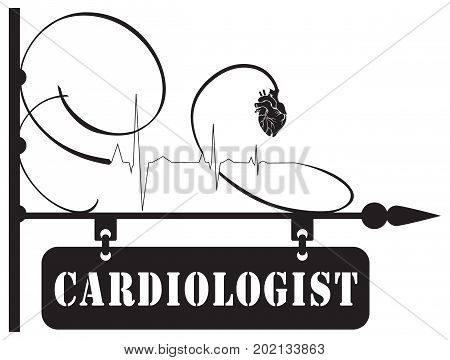 Street pointer to the cardiologist service. The index is made in a vintage style with the use of the heart symbol and cardiogram.