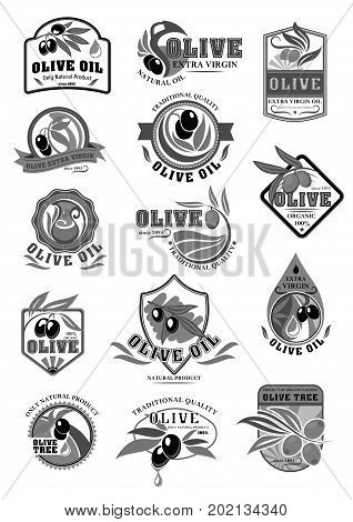 Olive oil product vector icons templates for bottles and jars. Isolated set of Italian olives symbols for extra virgin cooking or salad oil. Black or green olive branches for natural organic oil label