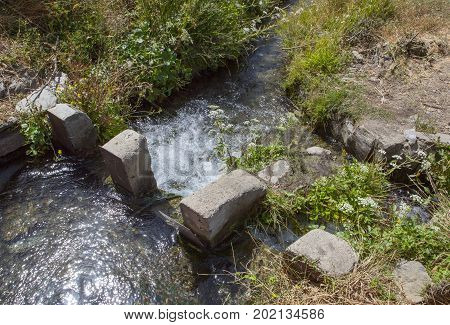 Ancient acequia of Alpujarras Region Granada Spain. These are old irrigation canal still in use Granada Spain