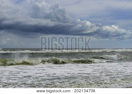Tropical storm at sea viewed from Gulf Islands National Seashore in Pensacola Florida.