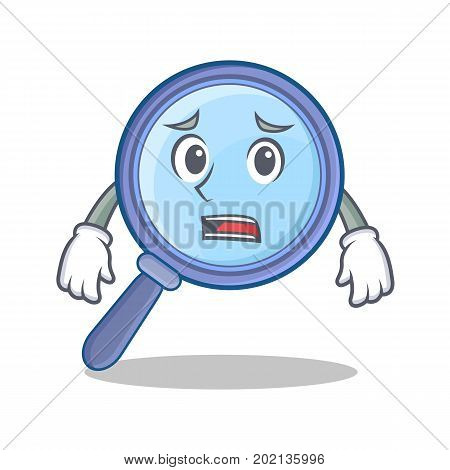 Afraid magnifying glass character cartoon vector illustration
