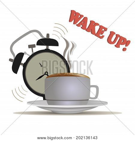 Wake up coffee vector waking morning clock illustration alarm sleep bed early bedroom.