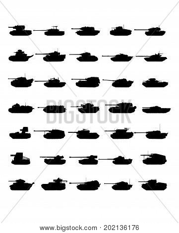 Tank icon vector war military design silhouette set isolated army design machine force fire defense