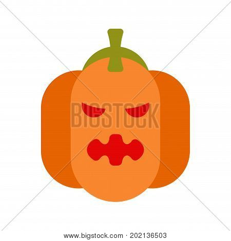 Angry Pumpkin For Halloween. Symbol For Terrible Holiday