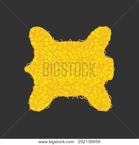 Golden Fleece Legendary Isolated. Yellow Fur Ram Magic Artefact