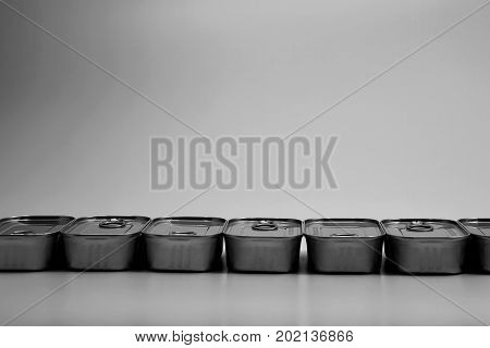 close up food tin can on the gray background