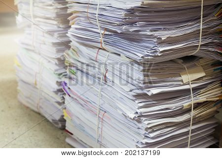 Business And Finance Concept Of Office Working, Pile Of Unfinished Documents On Office Desk, Stack O