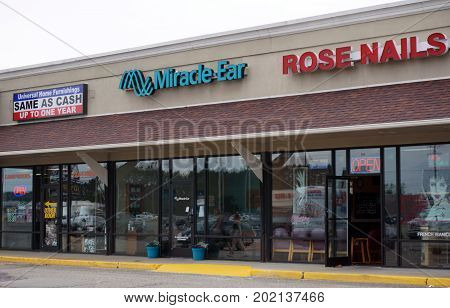 CADILLAC, MICHIGAN / UNITED STATES - JUNE 22, 2017: One may buy a hearing aid at Miracle Ear, in the Village at Wexford shopping center.