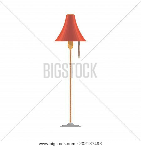 Vector lamp flat icon front view isolated. Furniture light interior floor illustration home, modern, design, electric. Element symbol metal decor power classic cartoon red chandelier retro vintage.
