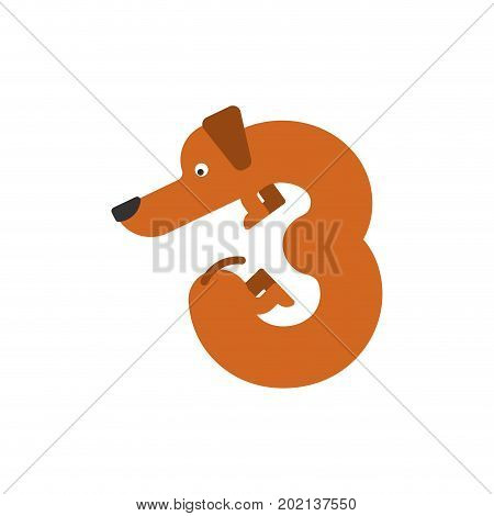 Figure 3 Dog. Dachshund Font Three. Home Pet Abc Symbol. Home Animal An Alphabet Sign