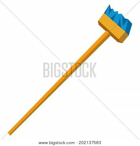 Vector funny cartoon illustration of mop and broom isolated. Cleaning symbols flat