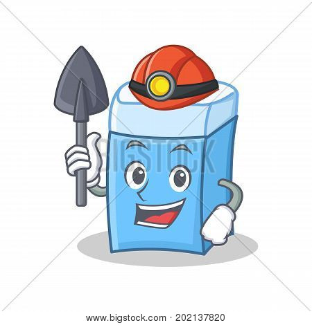 Miner eraser character cartoon style vector illustration