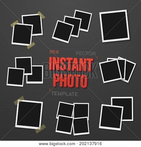 Illustration of Blank Vintage Instant Photo Frame Mockup Set. Vector Instant Photo. Photorealistic Vector EPS10 Retro Instant Photo Frame Mockup
