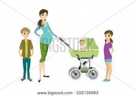 Motherhood. Happy young pregnant mother with her daughterson and a toddler in a pramisolated on white backgroundcartoon vector illustration