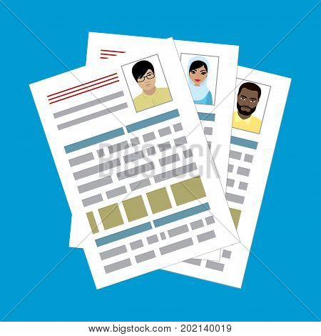 curriculum vitae recruitment candidate job position. Concepts for human resource and recruitment. Searching cv and profile of employees. Flat design vector illustration.