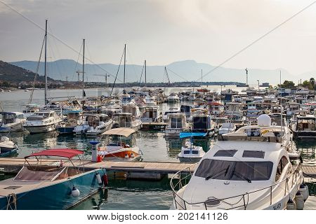 Picture of pier with boats in harbor Trogir Croatia. Travel destination in Europe