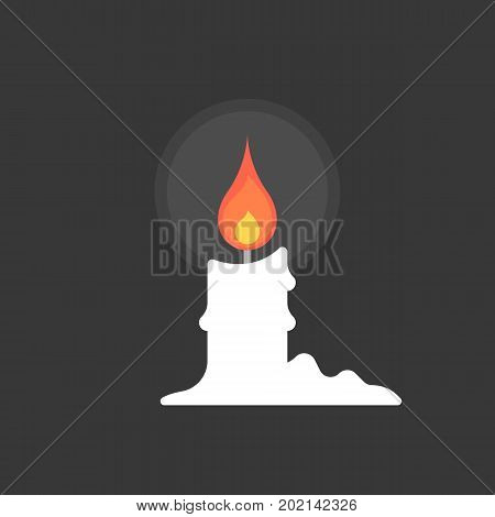 candle in the night with candle tears, flat design vector