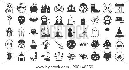Big set of Halloween silhouette icon, include monster such as angle of death, Dracula, mask of murderer, bat and cute ghost, abandoned house, owl, candle, jack o lantern, black cat, candy, wolf, skull