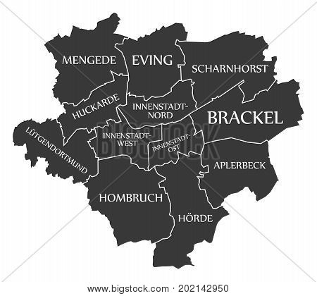 Dortmund City Map Germany De Labelled Black Illustration