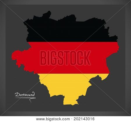 Dortmund Map With German National Flag Illustration