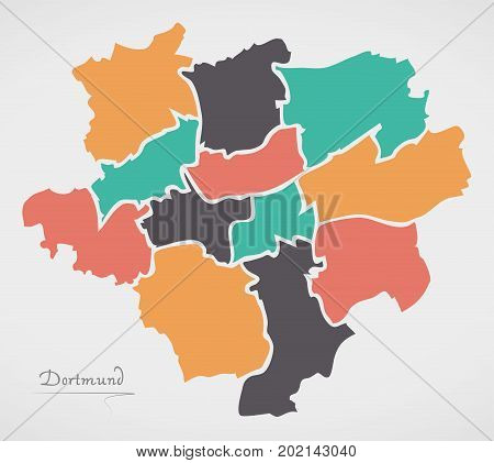 Dortmund Map With Boroughs And Modern Round Shapes