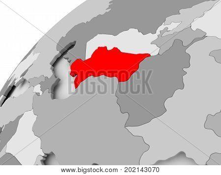 Turkmenistan On Grey Political Globe