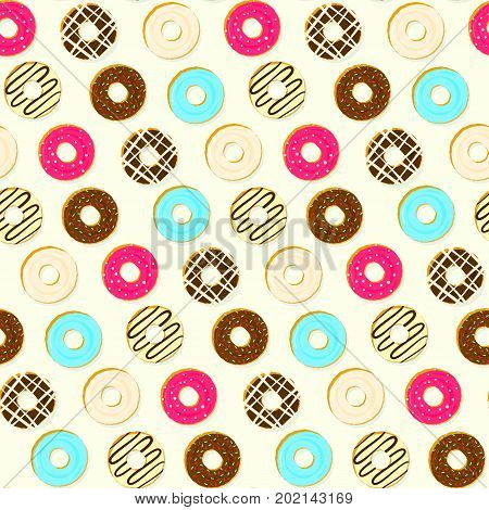 Colorful tasty fried topping donuts seamless pattern. Cute delicious bright sweet vanilla, chocolate dessert texture for wrapping paper, textile, cover, background, wallpaper