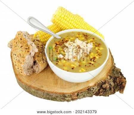 Fresh chicken and sweetcorn soup isolated on a white background