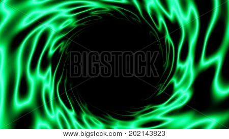 Abstract green background with black hole. Space digital backdrop. 3d rendering