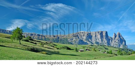 Seiser Alm and famous Schlern Mountain in South Tirol,Trentino,Alto Adige,Italy