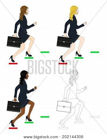 Set Cute Business Woman holding a Brief Case while Running to Goal. Full Body Vector Illustration. isolated on White Background