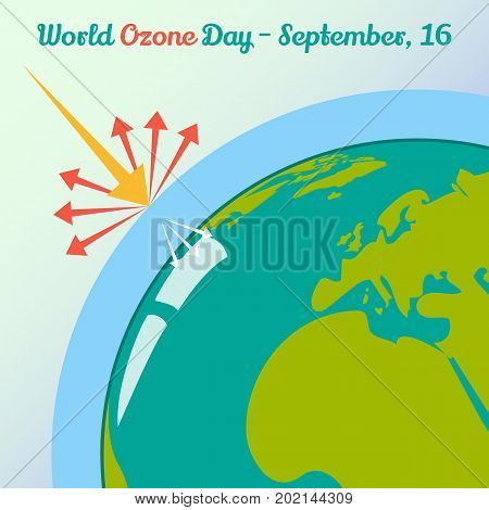 Global warming concept for World Ozone Day in simple cartoon style. 16 September. Vector illustration. Holiday Collection.
