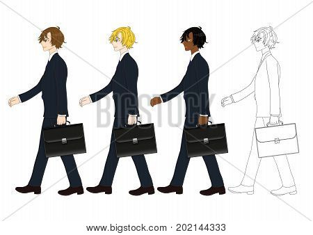 Set Handsome Business Man holding a Brief Case while Walking. Side View. Full Body Vector Illustration. isolated on White Background