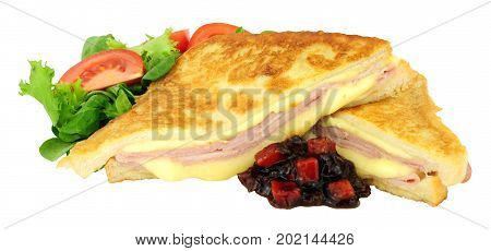 Fried ham and cheese Monte Cristo sandwich isolated on a white background