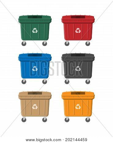 Huge waste trash can isolated on white. Container for garbage. Dumpster on wheels. Garbage recycling and utilization equipment. Waste management. Vector illustration in flat style