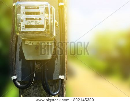 Electric meter at power pole is outdoor