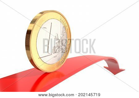 3d illustration: copper-nickel one euro coin on red arrow downward with reflecting surface on white background. Money. Quotes go down. Banking business concept. Investments, deposits, storage, cash.