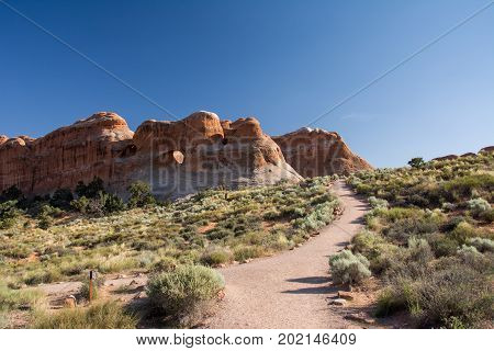 Path leading to the arch in Arches National Park, Moab, Utah, USA