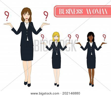 Set Cute Business Woman Making Selection with Happy Face. Full Body Vector Illustration. isolated on White Background