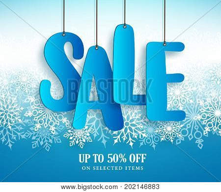 Winter sale vector banner design with hanging sale text in white winter snowflakes in blue background for retail marketing promotion. Vector illustration.