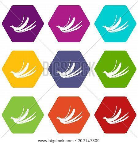 Banana peel icon set many color hexahedron isolated on white vector illustration
