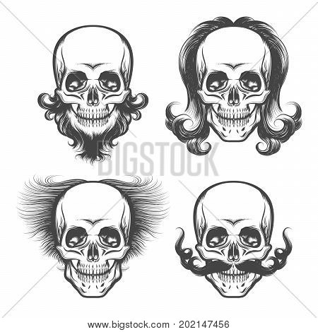 Set of Skulls with various haircut beard and mustache. Vector illustration drawn in tattoo style