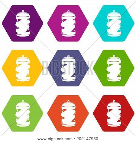 Crumpled aluminum cans icon set many color hexahedron isolated on white vector illustration